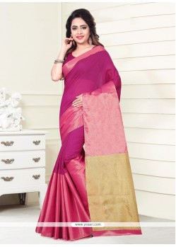 Print Art Silk Casual Saree In Pink