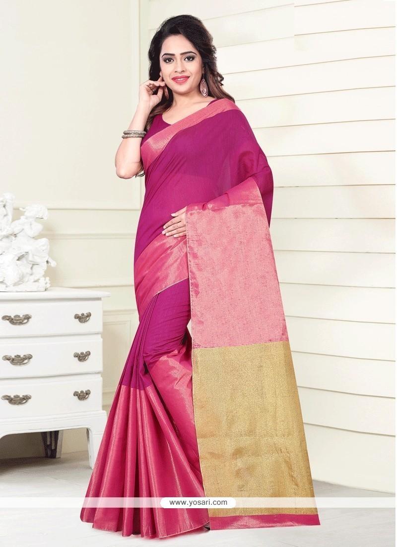 Print Art Silk Casual Saree In Pink