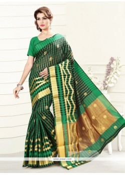 Renowned Print Work Green Art Silk Casual Saree