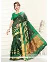 Renowned Print Work Green Art Silk Casual Saree