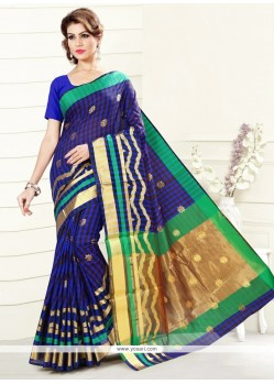 Exuberant Print Work Art Silk Casual Saree