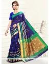 Exuberant Print Work Art Silk Casual Saree