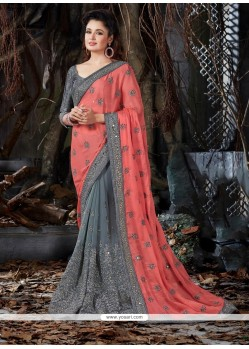Fantastic Grey Patch Border Work Faux Crepe Traditional Saree