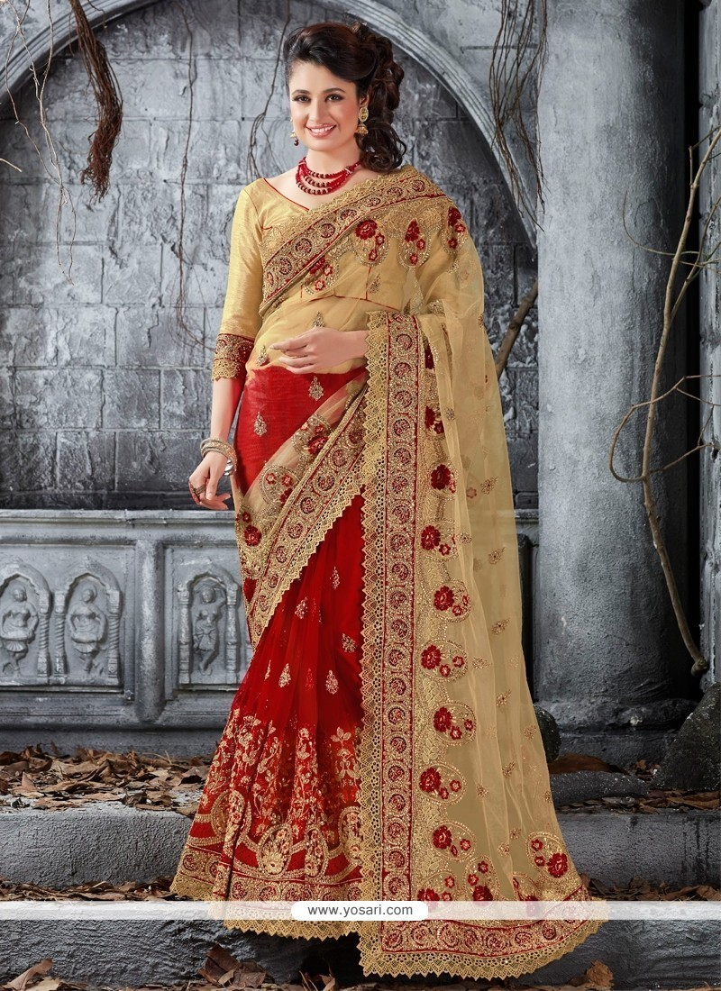 Chic Embroidered Work Net Designer Traditional Sarees