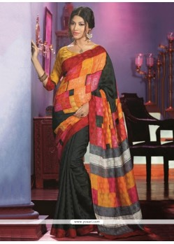 Lovely Black And Orange Art Silk Saree