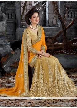 Sumptuous Net Yellow Designer Saree