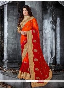 Miraculous Orange Embroidered Work Classic Designer Saree