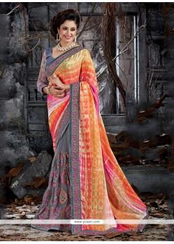 Outstanding Faux Crepe Multi Colour Trendy Saree