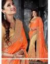 Glitzy Faux Chiffon Orange Classic Designer Saree