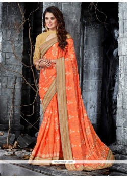 Awesome Embroidered Work Net Trendy Saree