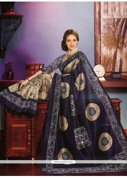 Blue And Cream Art Silk Saree