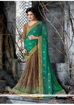 Outstanding Art Silk Brown And Sea Green Embroidered Work Classic Saree