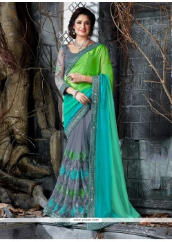 Engrossing Grey Patch Border Work Classic Designer Saree