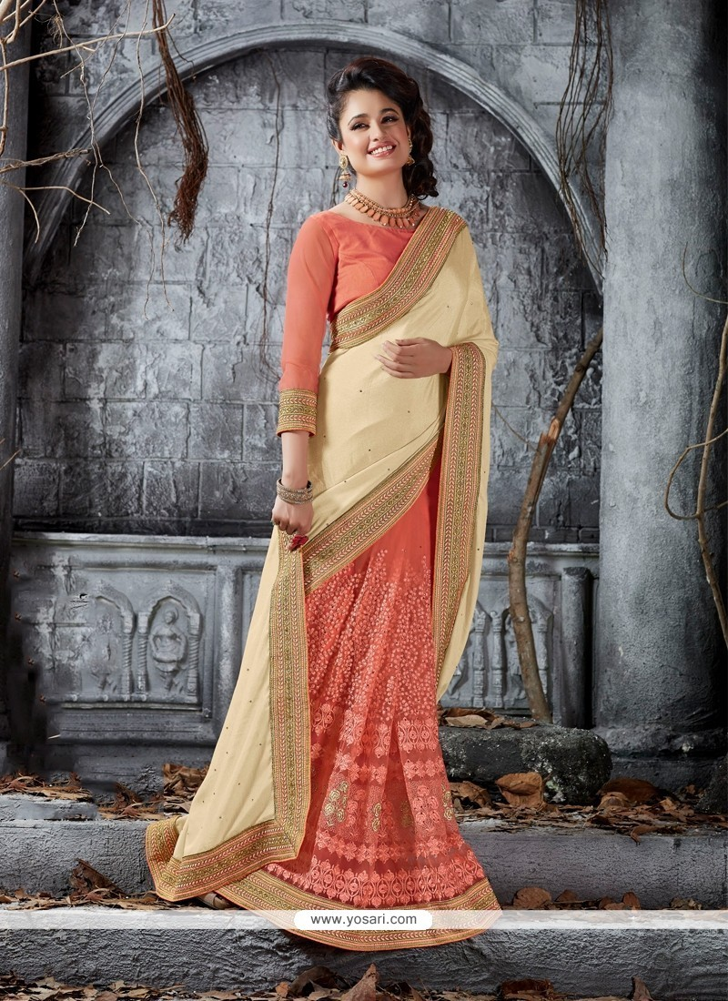 Outstanding Faux Crepe Peach Traditional Saree