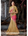 Flawless Patch Border Work Beige Net Designer Traditional Sarees