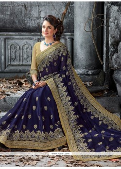 Marvelous Navy Blue Embroidered Work Faux Chiffon Classic Saree