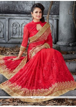 Breathtaking Net Embroidered Work Classic Designer Saree