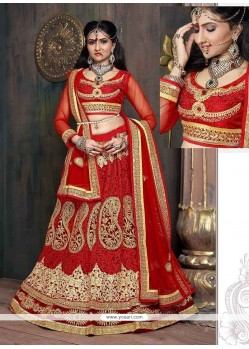 Pretty Red Embroidered Work Designer Lehenga Choli