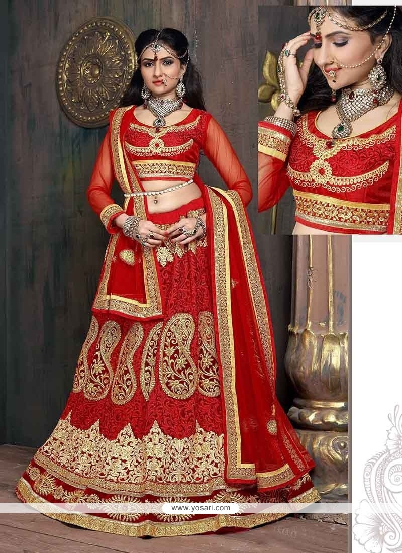 Pretty Red Embroidered Work Designer Lehenga Choli