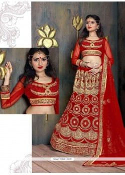 Patch Border Net A Line Lehenga Choli In Red
