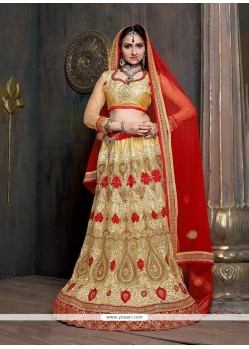 Stylish Satin Patch Border Work A Line Lehenga Choli