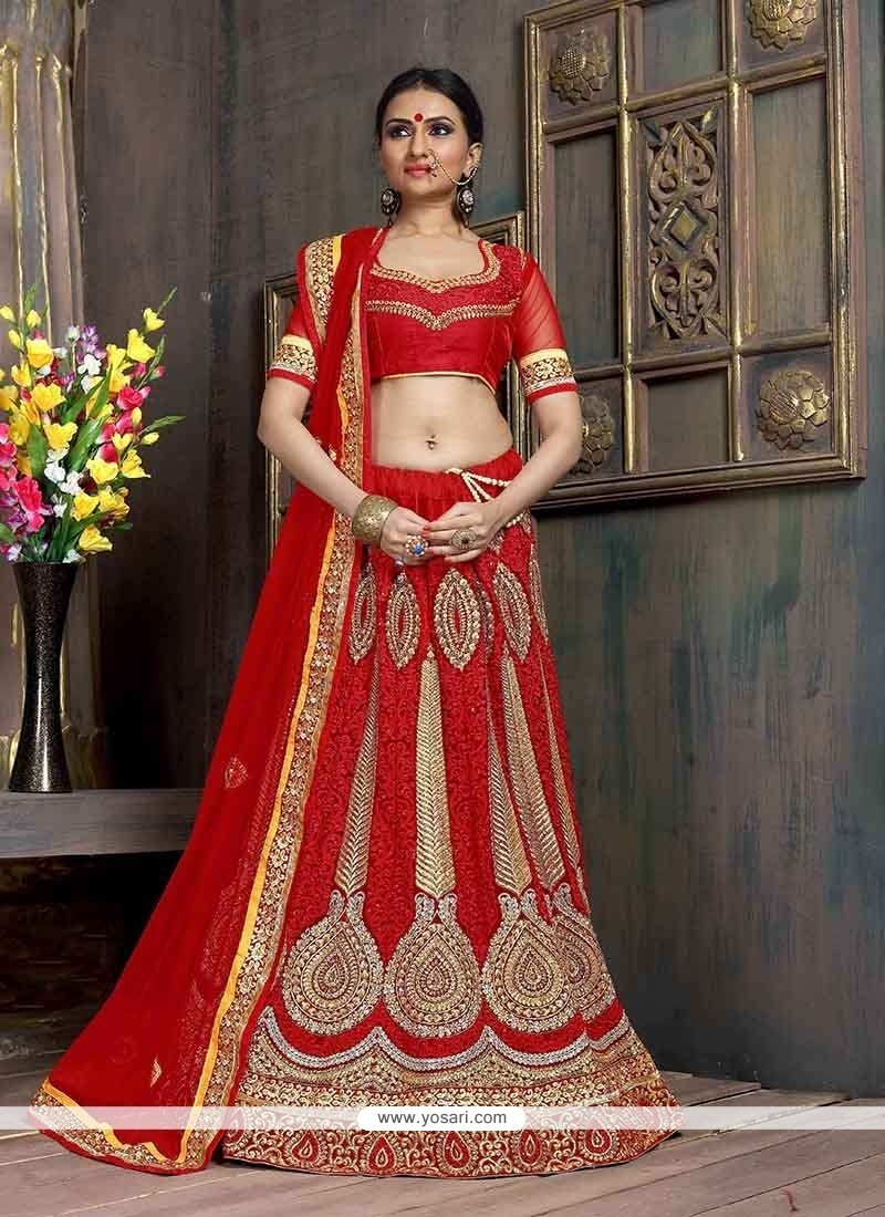 Sensational Red Embroidered Work Net A Line Lehenga Choli