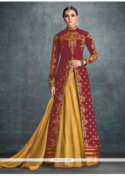 Zesty Maroon Banglori Silk Designer Lehenga Choli