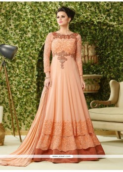 Modern Peach Georgette Floor Length Anarkali Salwar Suit