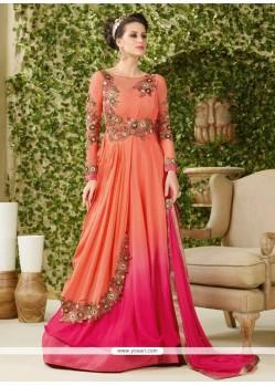 Amusing Peach Floor Length Anarkali Salwar Suit