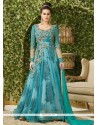 Embroidered Net Floor Length Anarkali Salwar Suit In Blue