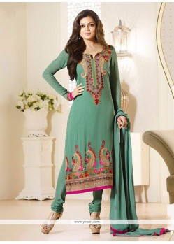 Latest Green Embroidered Work Churidar Designer Suit