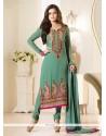 Latest Green Embroidered Work Churidar Designer Suit