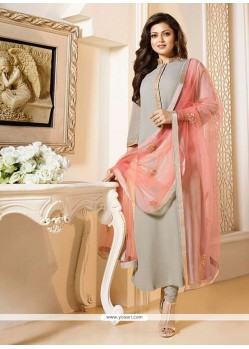 Auspicious Embroidered Work Grey Georgette Churidar Designer Suit