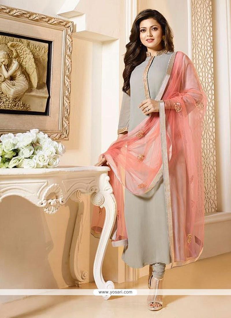 Auspicious Embroidered Work Grey Georgette Churidar Designer Suit