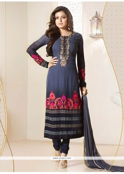 Flamboyant Navy Blue Churidar Designer Suit