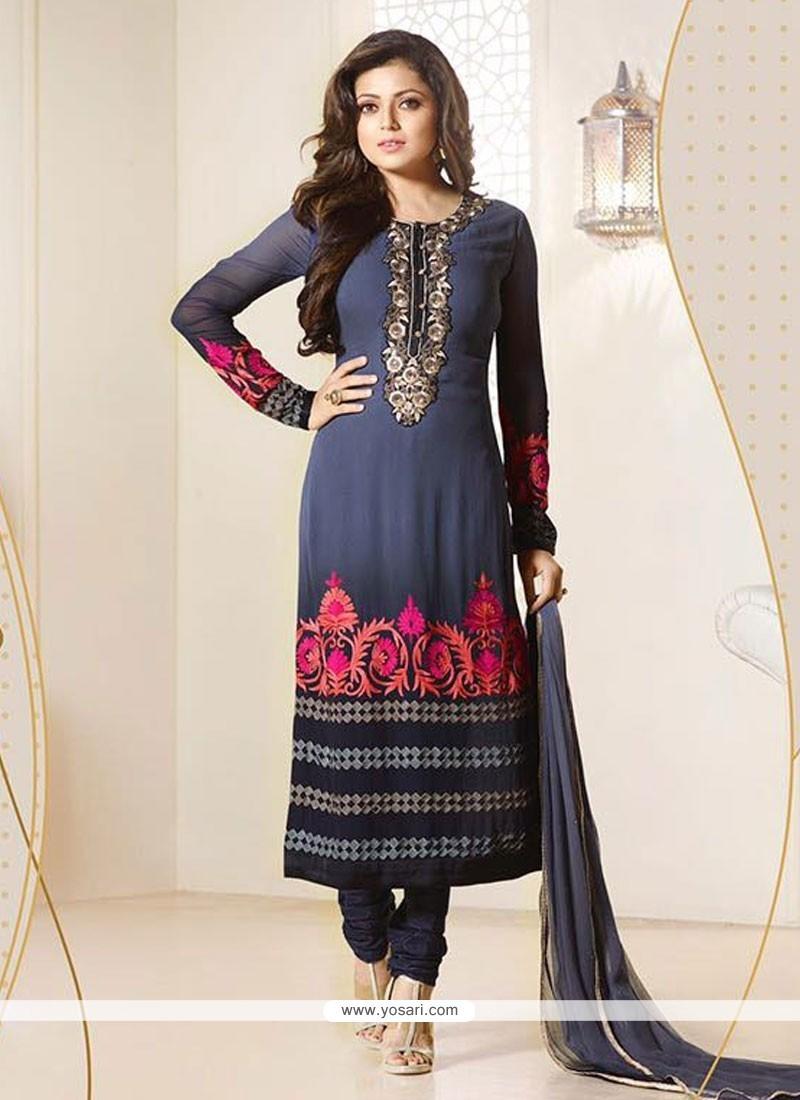 Flamboyant Navy Blue Churidar Designer Suit
