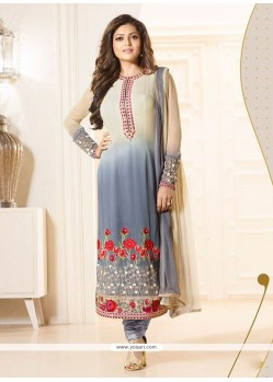Hypnotizing Georgette Grey Churidar Designer Suit