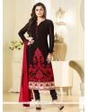 Monumental Georgette Black Patch Border Work Churidar Designer Suit