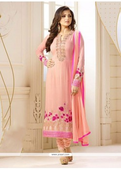 Exuberant Georgette Peach Churidar Designer Suit