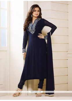 Glossy Navy Blue Georgette Churidar Designer Suit
