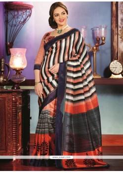 Black And Orange Art Silk Saree