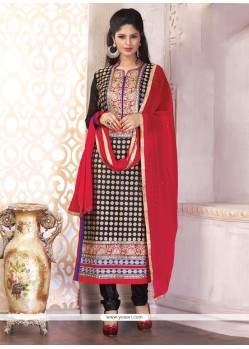 Gratifying Georgette Black And Red Churidar Designer Suit