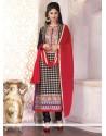Gratifying Georgette Black And Red Churidar Designer Suit