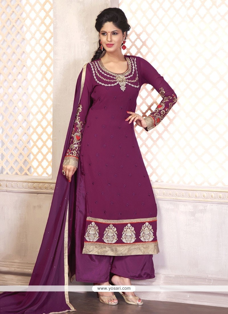 Eye-catchy Embroidered Work Georgette Designer Palazzo Salwar Suit