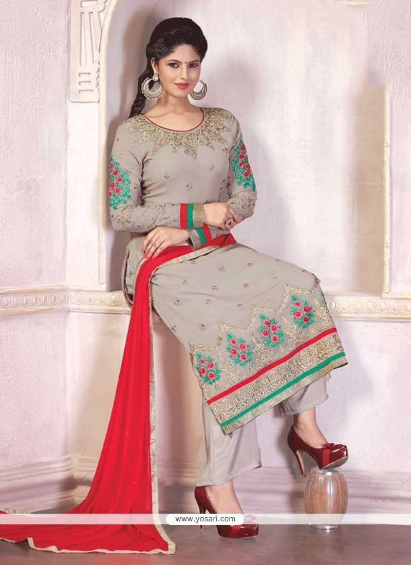 Enthralling Patch Border Work Georgette Grey And Red Designer Palazzo Salwar Suit
