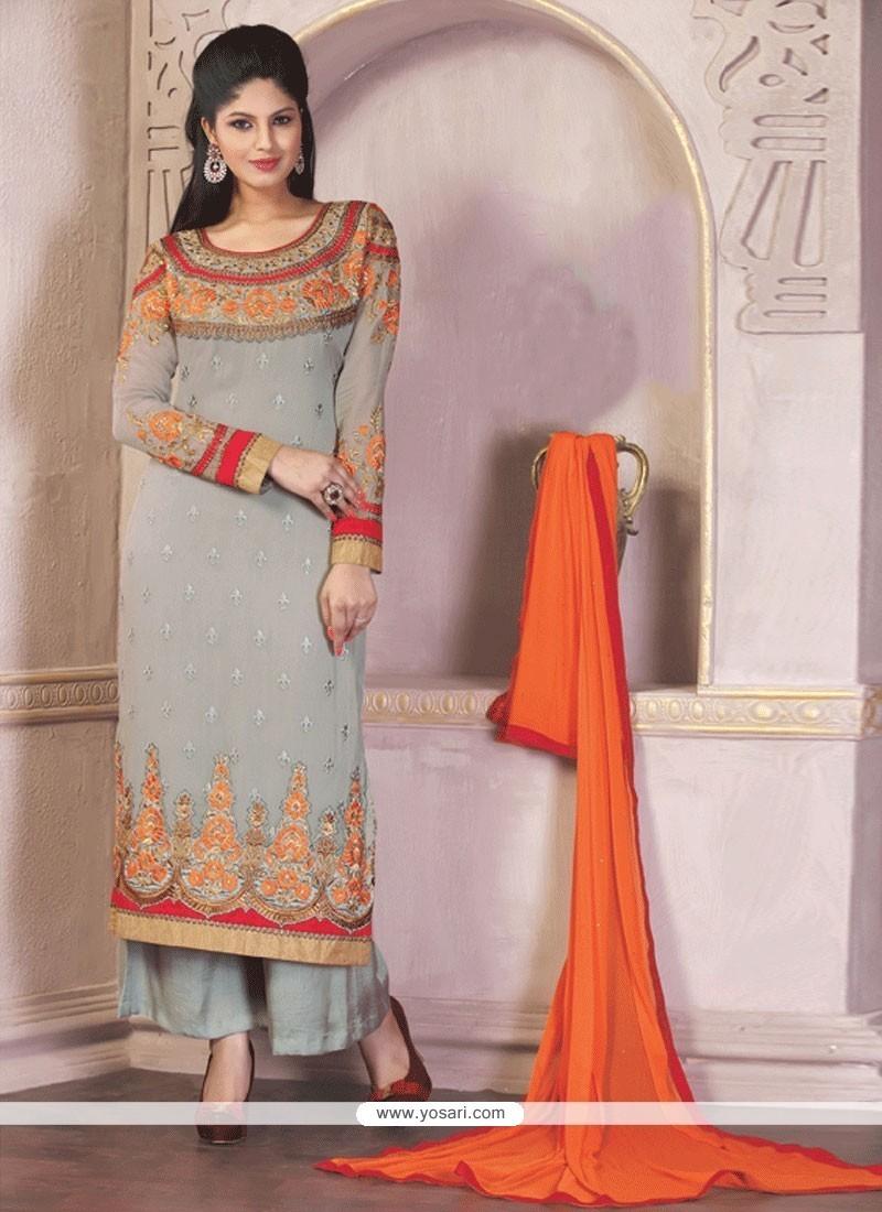 Innovative Grey Designer Palazzo Salwar Suit
