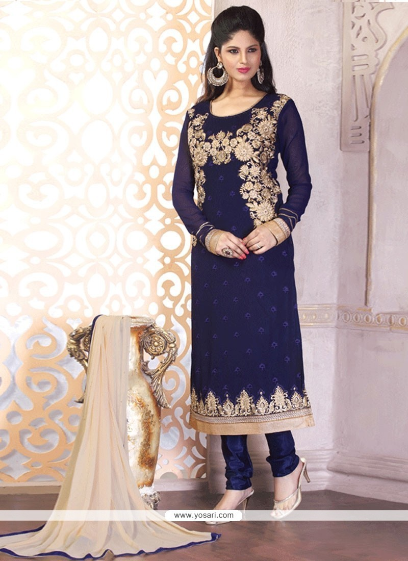 Affectionate Patch Border Work Churidar Designer Suit