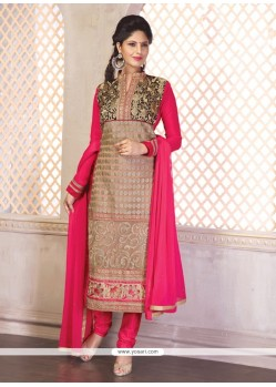 Pretty Embroidered Work Hot Pink Churidar Designer Suit