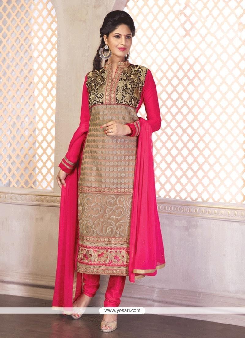 Pretty Embroidered Work Hot Pink Churidar Designer Suit