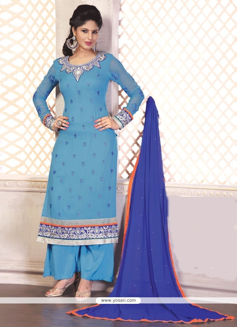 Sorcerous Embroidered Work Georgette Blue Designer Palazzo Salwar Suit